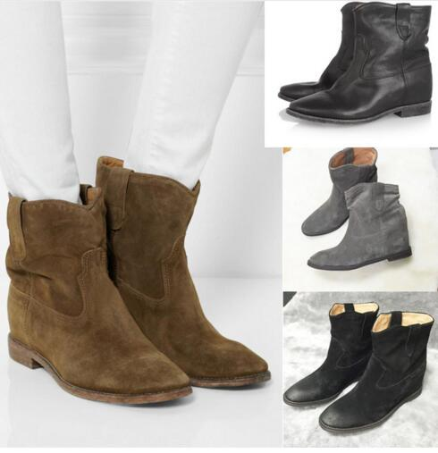 Suede ankle boots wedge vintage boots high quality leather women's slip on fashion boots round toe ankle boots black grey nayiduyun women genuine leather wedge high heel pumps platform creepers round toe slip on casual shoes boots wedge sneakers