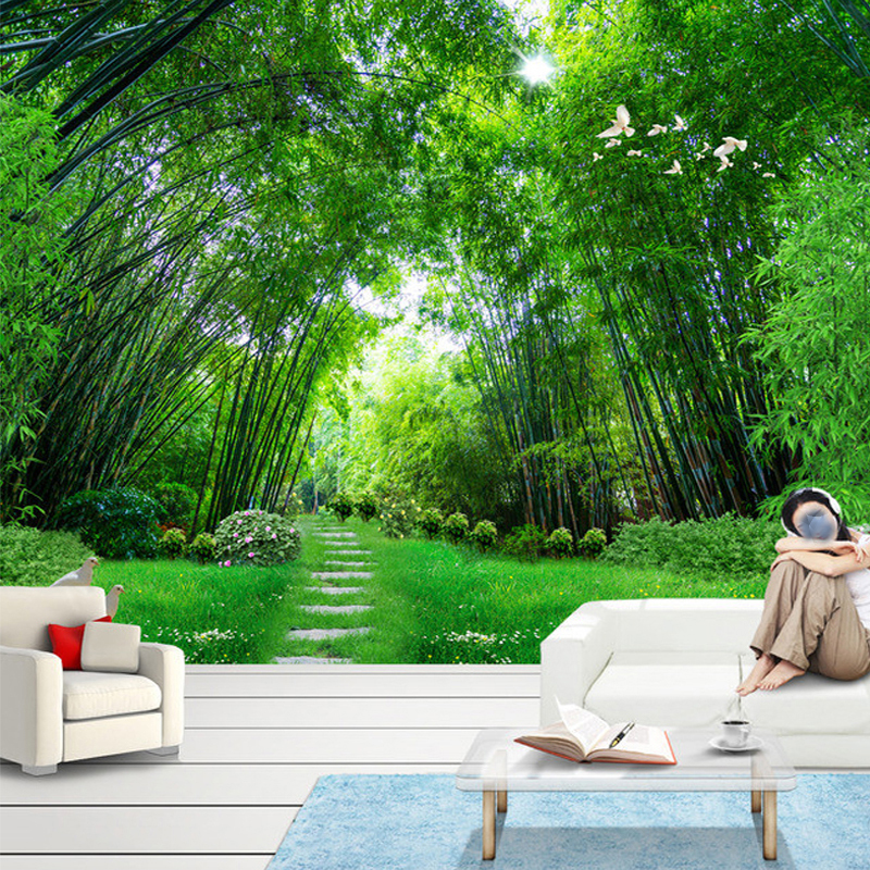 Custom Photo Wall Paper 3D Green Bamboo Forest Large Wall Painting Modern Living Room Mural Wallpaper For Walls Contact Paper 3D custom 3d photo wallpaper waterfall landscape mural wall painting papel de parede living room desktop wallpaper walls 3d modern