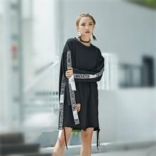 Solo ¡! nunca hip-hop Vestido de manga larga negro rojo otoño vestido libre sexy suelto mini vestido carta streetwear moda