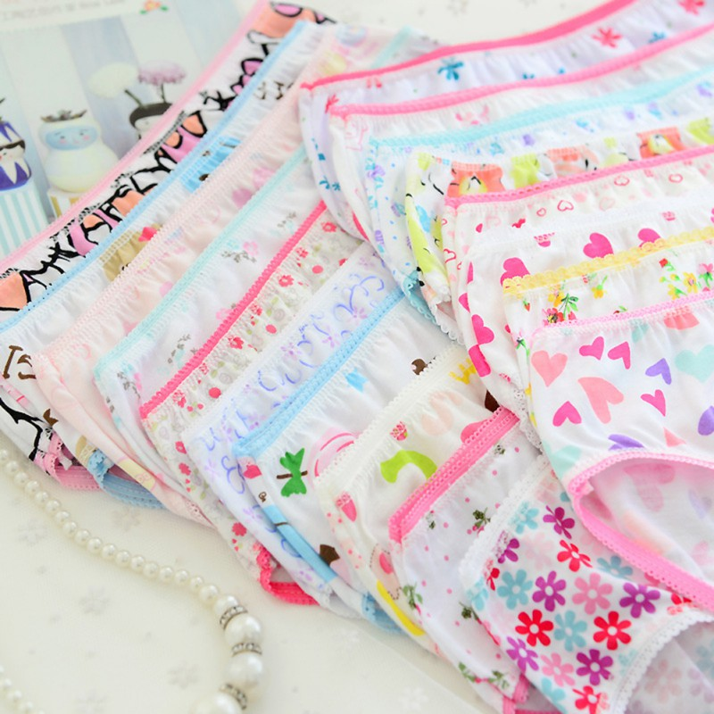 6 Pcs/pack Mix Colors  Baby Girls Underwear Kids Cotton Panties Short Briefs Children Underpants