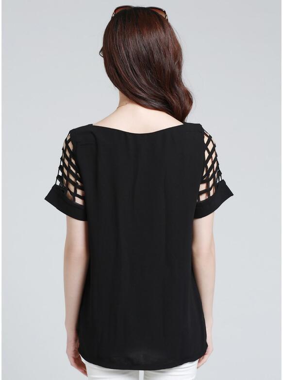HTB1KYv5KpXXXXXSaXXXq6xXFXXXl - New Summer shirt Short sleeve Chiffon Blouse Tops Clothing 5XL