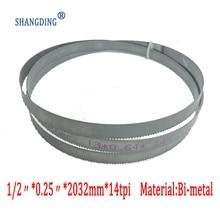 "Купить с кэшбэком 80""x 1/2"" x 0.25""  or 2032*13*0.65*14tpi  bimetal M42 metal bandsaw blades for European band saws"