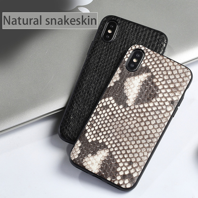 Luxury Genuine Leather Phone case For iPhone X 6 6S 7 8 Plus 5 5S SE back cover Real Python Skin soft shell all-inclusiv cases