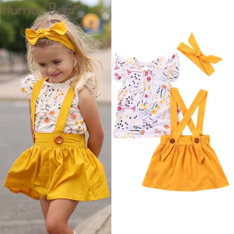 Humor Bear Summer Baby Girls Summer New Clothes Suit Fly Sleeve T-shirt Tops+Floral Skirt+Headband Kids Party Princess Clothing 2