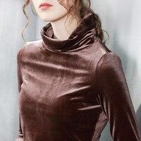 Womens Top Velvet Long Sleeve Turleneck T Shirt All Match Tee Black Green Grey T Shirt