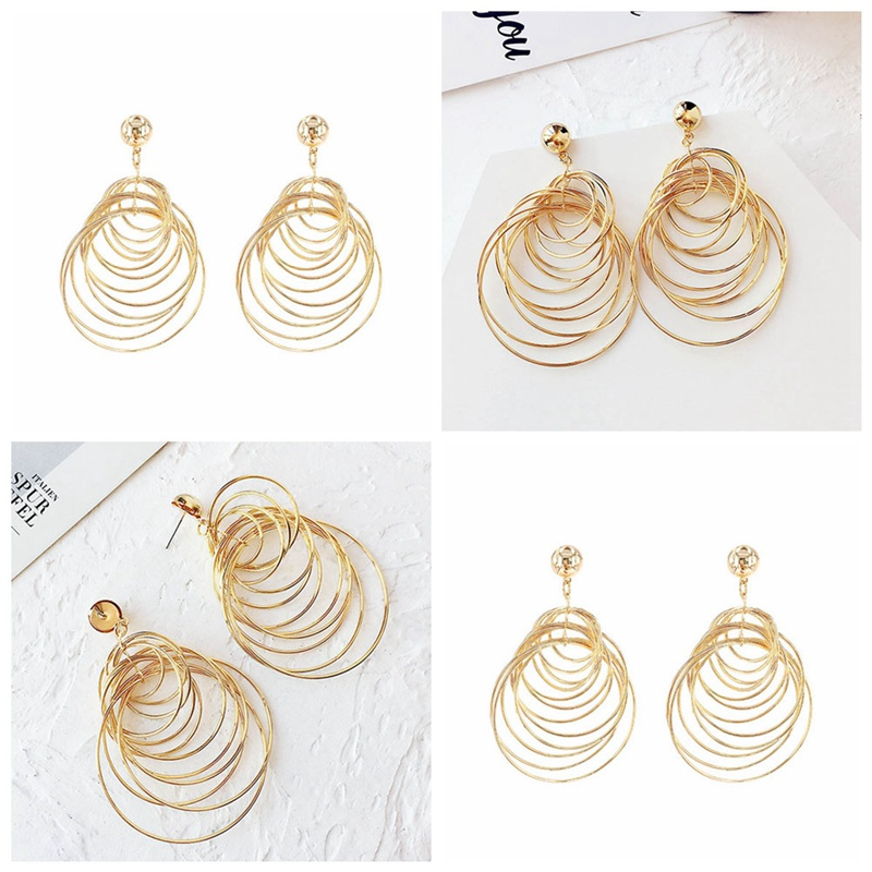 Party Gold color Fashion Sexy Circle Earrings Ear Multilayer Metal Ring Pendant Girl`s Jewelry Accessories