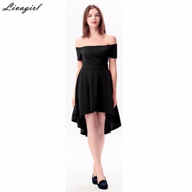 61cce61b52dd Off Shoulder Black Dress Women Summer New Fashion Short Sleeve Womens Sexy  Asymmetry Dresses Party Night Club Dress Mini