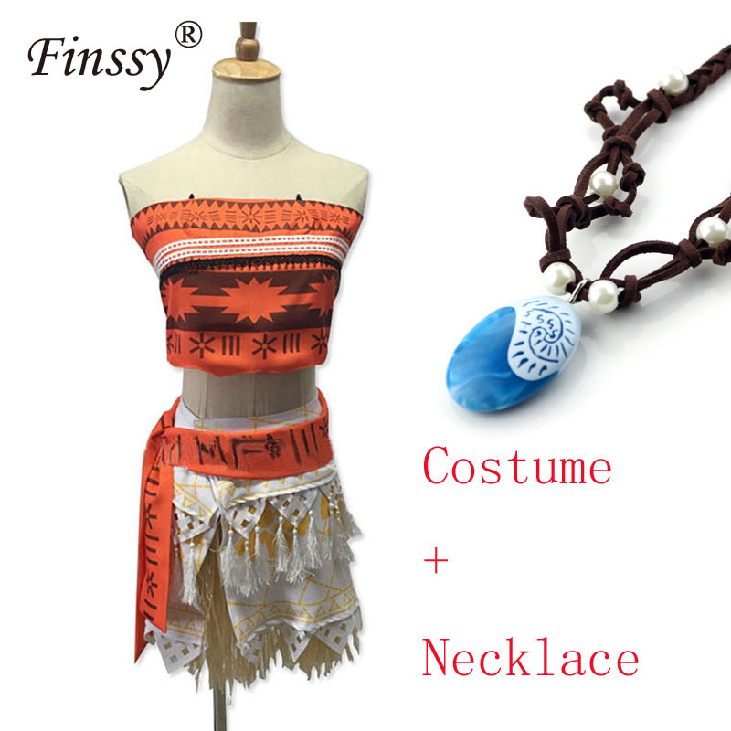 2017 Moive Princess Moana Cosplay Costume For Adult Halloween Costume For Kids Girls Party Dress