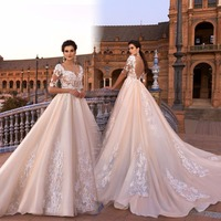 Vestido De Noiva Lace Gelinlik Elegant A Line Wedding Dresses Boat Neck Half Sleeves Appliqued Tulle