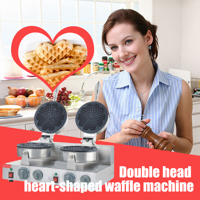 1pc high quality Double head Heart-shaped round waffle machine waffle maker Commercial Household Electric 110V/220V directly factory price commercial electric double head egg waffle maker for round waffle and rectangle waffle