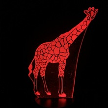 Color Changing Giraffe Animals Led Night Light Kids 3d Lamp LED Toys Decor Remote 3D Optical Dropship USB Holiday Present Desk