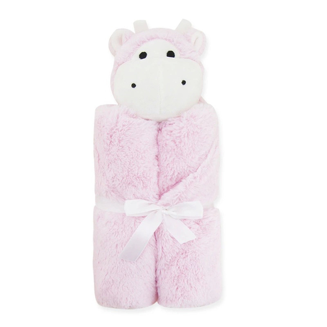 Fluffy & Warm Baby Blanket – Pink Hippo