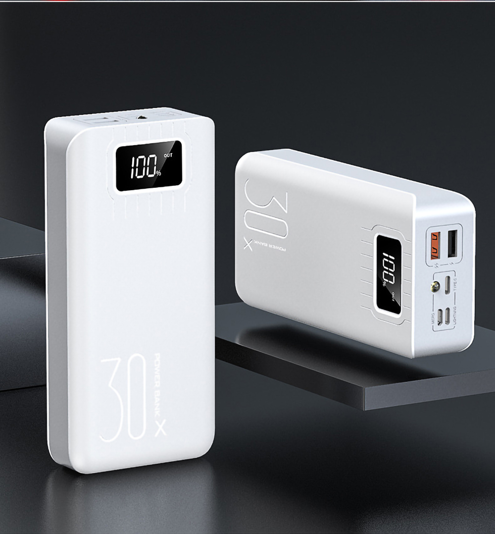 2USB LED Power Bank 30000mAh Portable Charging Powerbank For iPhone Xiaomi Samsung Huawei Poverbank Pack Charge External Battery