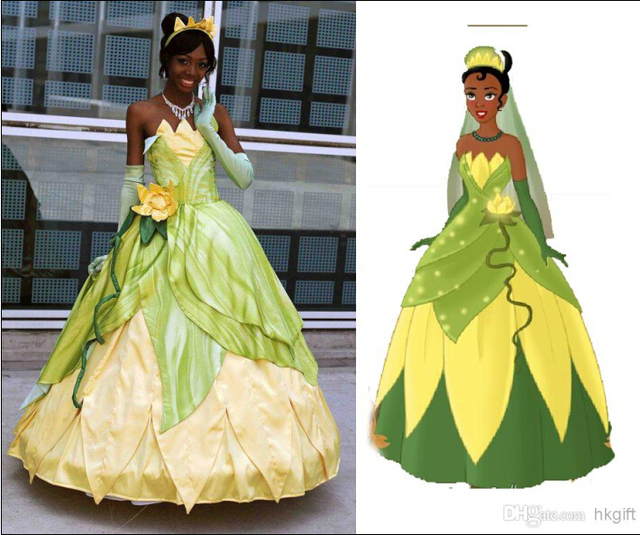 ohlees Custom-made Frog Tiana Princess Dress Cosplay Halloween christmas Movie party Costume adult size & ohlees Custom made Frog Tiana Princess Dress Cosplay Halloween ...