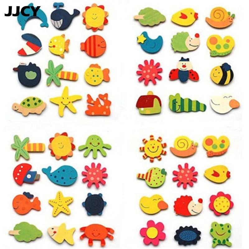 Новый 12 шт. Развивающие деревянные игрушки Подарок для маленьких детей Животные мультфильм смешной деревянный магнит на холодильник Стике...