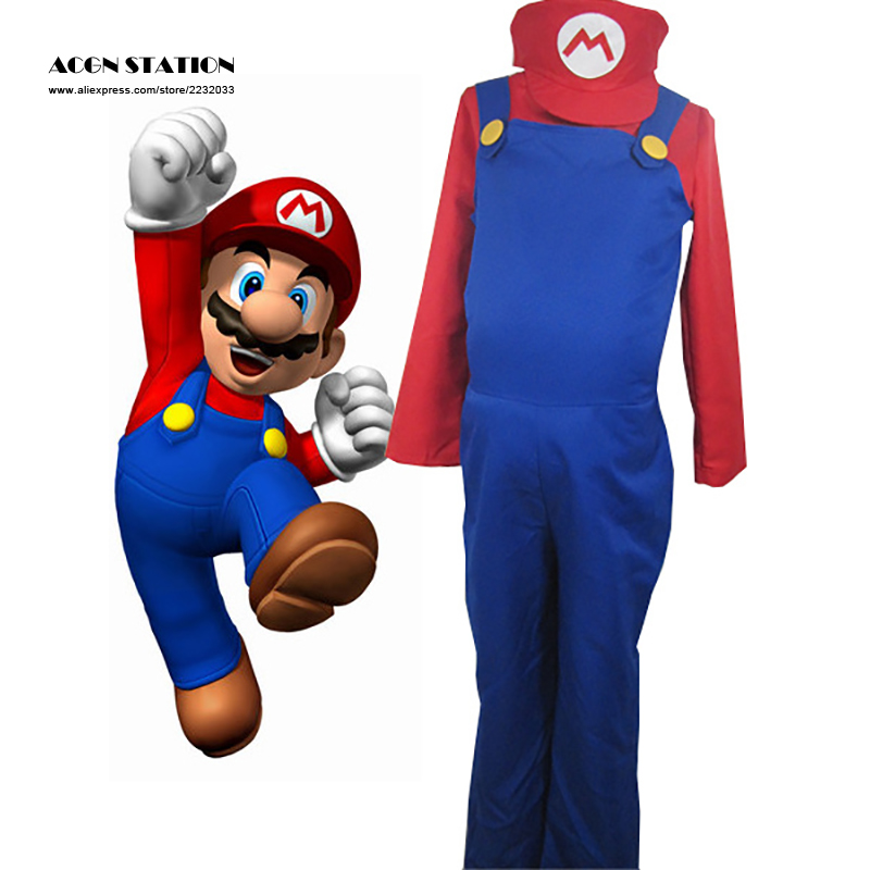 2018 Free Shipping Hot Sale Adluts Kids Super Mario Bros Adult Kid Cosplay Costume Halloween Party MARIO & LUIGI Costume