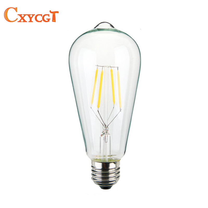Retro lamp st64 vintage LED edison bulb e27 bulb 110v 220v  4W filament lamp lampada for home decor Rope pendant light bulb retro lamp st64 vintage led edison e27 led bulb lamp 110 v 220 v 4 w filament glass lamp