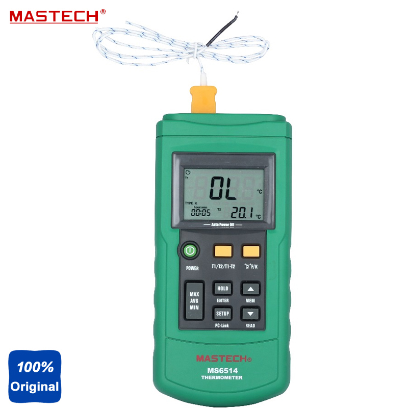 MASTECH MS6514 USB Interface Dual Channel Digital Thermometer Temperature Logger Tester 1000 Sets Data KJTERSN Thermocouple free shipping mastech ms6514 single channel temperature acquisition instrument thermocouple thermometer self calibration tester