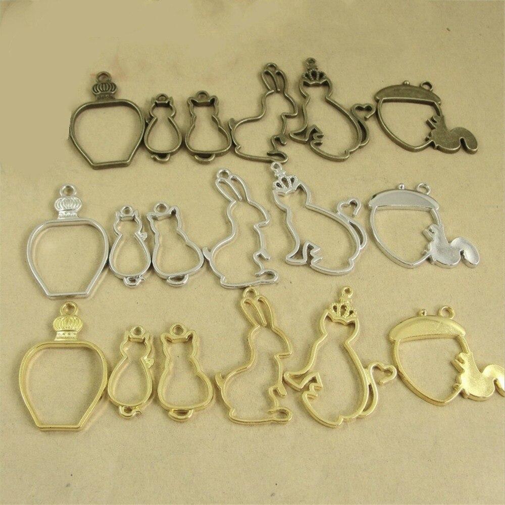 BASEHOME 10pcs Vintage Animals Charm Pendants Photo Frame Bronze Tone Ancient Necklace Bracelets Pendant DIY Jewelry Supplies