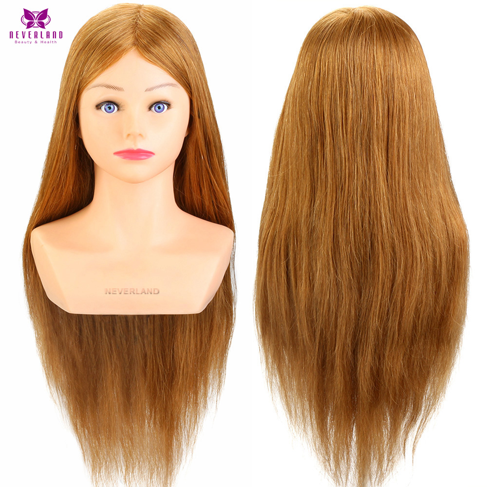NEVERLAND Blonde 24'' 100% Real Human Hair Training Head With Shoulders Hairdressing Practice Head Mannequin For Hairdressers