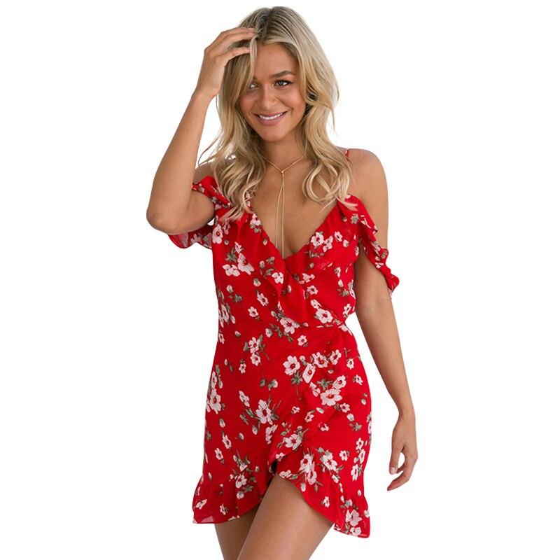 2017 boho dress mujeres cold shoulder ruffle dress del verano de impresión de al