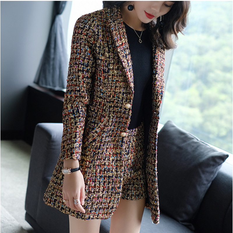 High Quality Lattice Shorts Suits Women Casual Office Business Suits Formal Work Wear Sets Uniform Styles Elegant Pant Suits Clear-Cut Texture