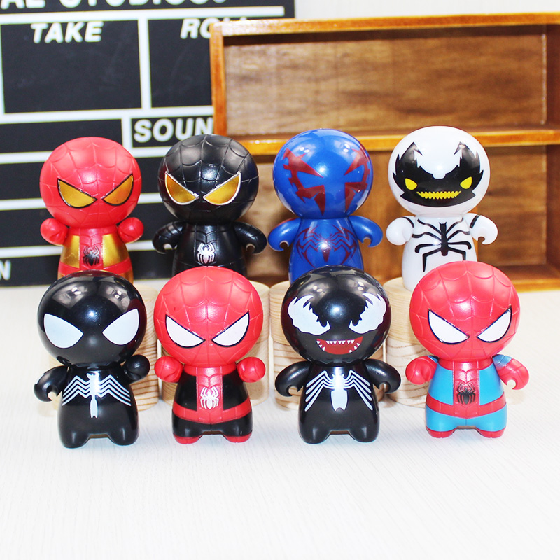 8pcs/lot cute mini Doraemon toy action figures Cosplay Spider Man America PVC Figure Model Toys