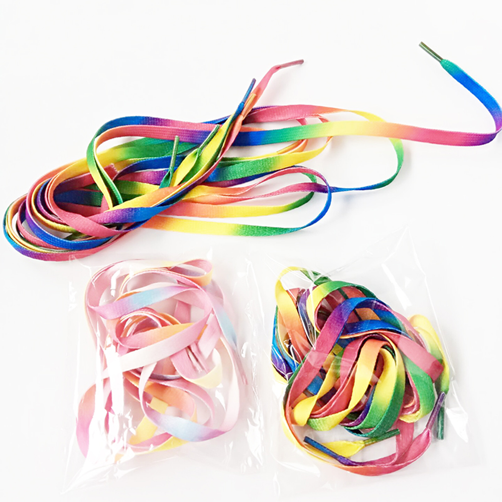 Shoelaces For Sneakers Sport Shoes 8mm Wide Rainbow Red Yellow Blue Green Colorful Laces Flat  100cm 120cm 140cm New