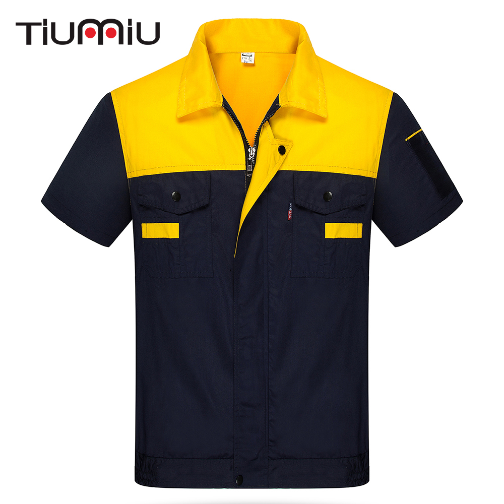 8 Colors High Quality S-4XL Unisex Engineering Uniforms Work Clothing Summer Short Sleeves Repairment Workshop Jackets And Pants