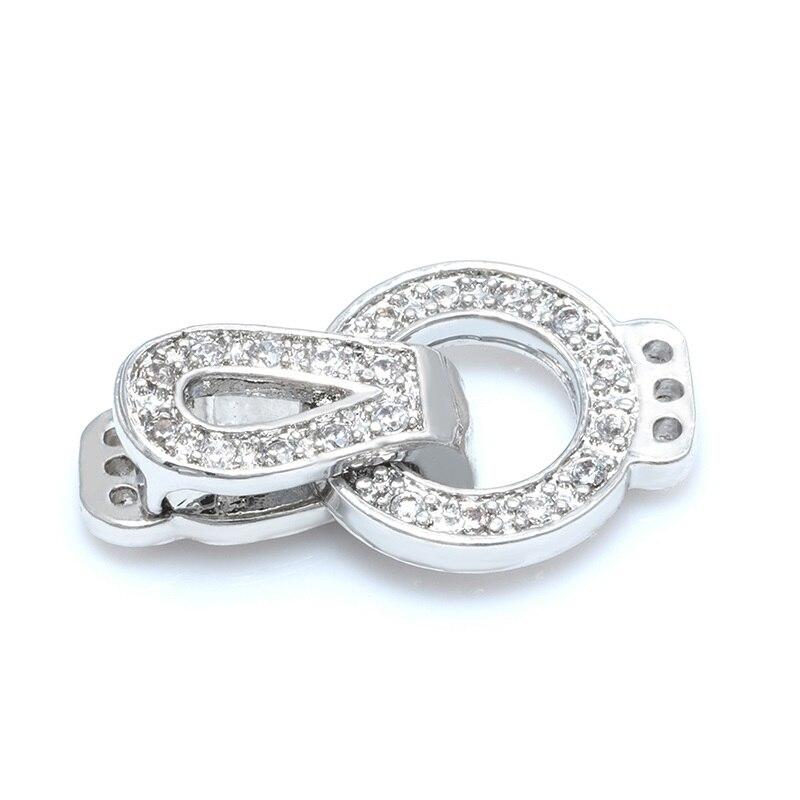 Застежки для DIY фурнитура для бижутерии браслетов рукоделия медные кубические циркониевые застежки для женские жемчужные ожерелья браслет оптом фермуар - Цвет: sliver