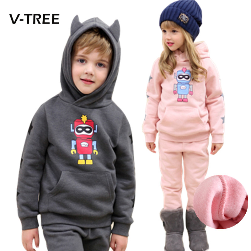 2016 autumn winter baby girls boys clothing set children kids hoodies pants thicken warm fleece clothes robot boys girls sets