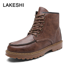 LAKESHI Men Boots Winter Shoes Men Waterproof Ankle Boots Martin Boots High Quality PU Leather Men Boots Outdoor Safety Shoes