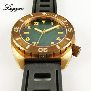 Image 4 - Lugyou San Martin Vintage Männer Uhr Bronze Sapphire Leucht Lünette California Grün Zifferblatt Gummi Schwarz 500m Wasser Widerstand Glow