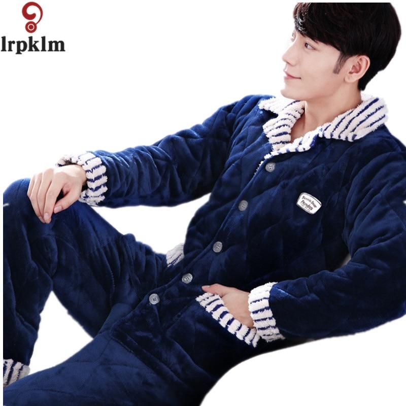 Brand New Three layer Thick Winter Cotton Pajamas Sets Men Quilted Jacket Pyjamas Mens Sleep Lounge