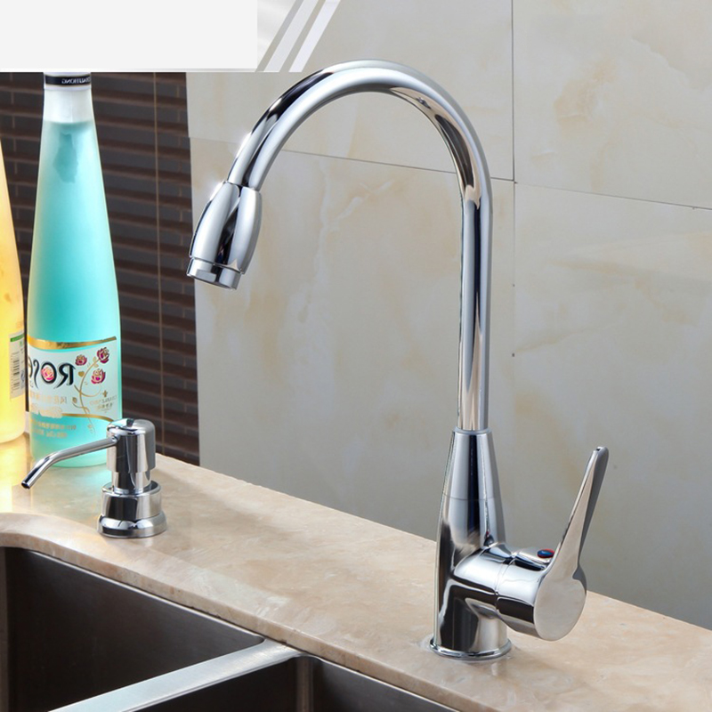 Superior in Quality Basin Faucet Contemporary Chrome Ceramic Plate Spool Hot Cold Water Mixer Kitchen Faucet