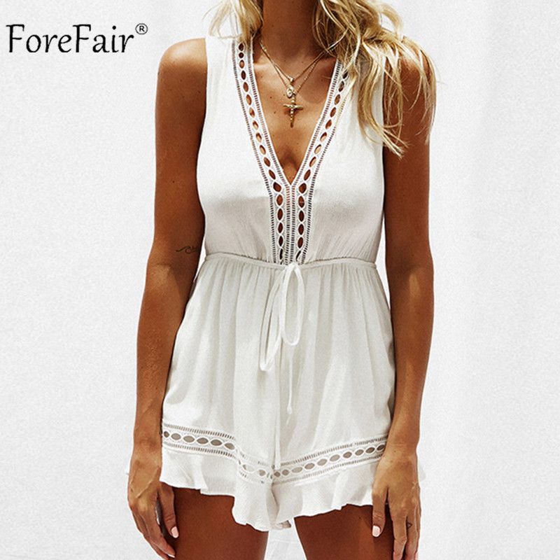 ForeFair V Neck Hollow Out Playsuit Women Elastic Waist Open Back Patchwork White Sexy Shorts   Jumpsuits