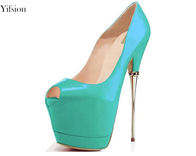 c4a07cca103 Yifsion Women Platform Pumps Stiletto High Heels Pumps Nice Peep Black  Light Green Rose Red Party