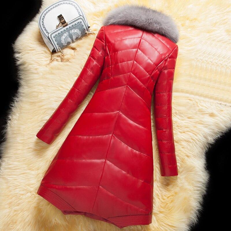 Faux L748 Col Bas Manteau Hiver Mode Femmes black Le En Cuir Qualité Parka Fourrure light Veste De Renard Haute Pu Poids Couette Grey Femelle Vers 2018 Red vIBnxOB