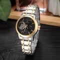 Женские наручные часы GEDIMAI  Брендовые Часы цвета розового золота с кожаным ремешком  повседневные автоматические механические часы