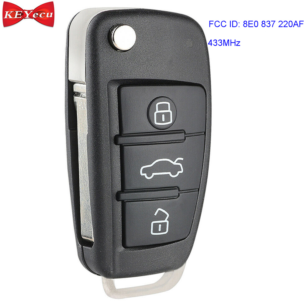 KEYECU pour Audi Q7 remplacement Flip télécommande voiture clé Fob 433 MHz 8E puce FCC ID 8E0 837 220AF