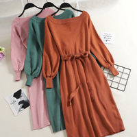 New Spring Autumn Fashion Slash neck Knitted Dresses Elegant Sashes Full Sleeve Dress Work wear Slim Drawstring Vestidos Mw526