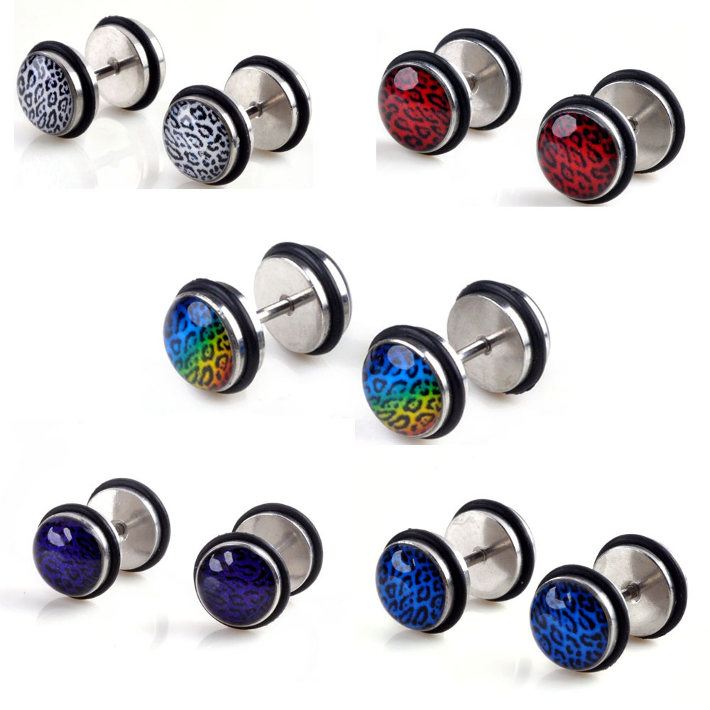 2pcs SILVER COLOR 4MM Barbell Ball Screw Stud Earrings for Men Women Steel Cheater Fake Ear Plugs