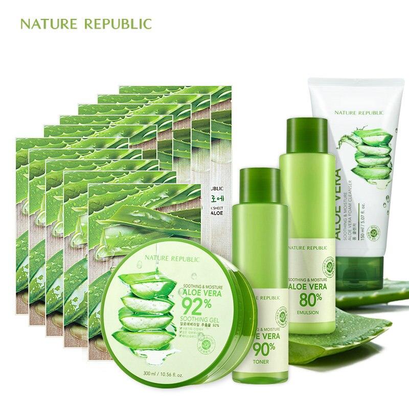Nature république naturel aloès hydratant ensemble Aloe Vera masque pour le visage émulsion nettoyant pour le visage crème pour les mains coréen soin de la peau ensemble
