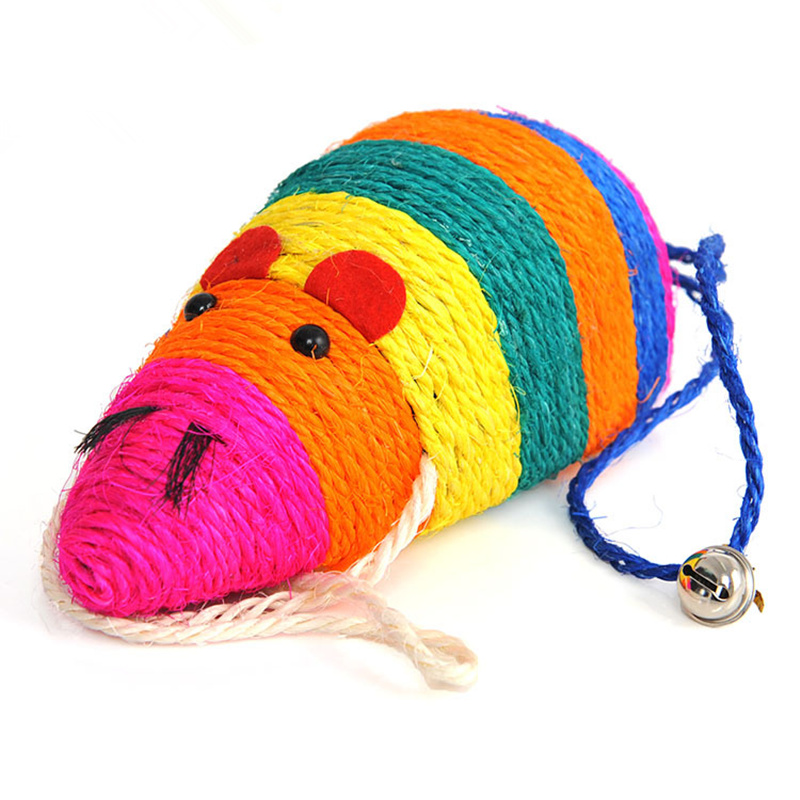 Pet Cat Chew Play Natural Sisal Mouse Cat Toys with Small Bell Colorful Large Mouse Interactive Chewing Toy Cat Product Toy