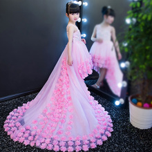 2017European Luxury baby girls elegant train lace princess dresses long tail evening ball gown party wedding christmas dress
