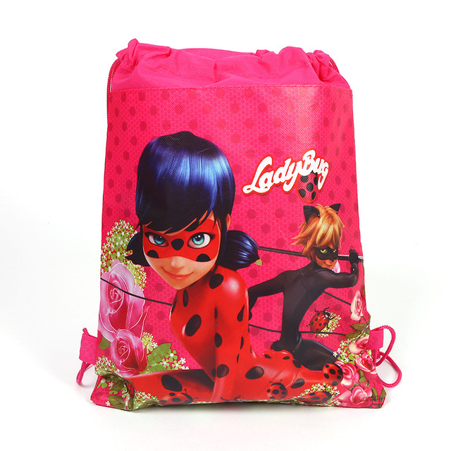 12pcs Miraculous Ladybug Cat Noir Drawstring Backpack Non Woven Fabric Loot Bag Gift Kid