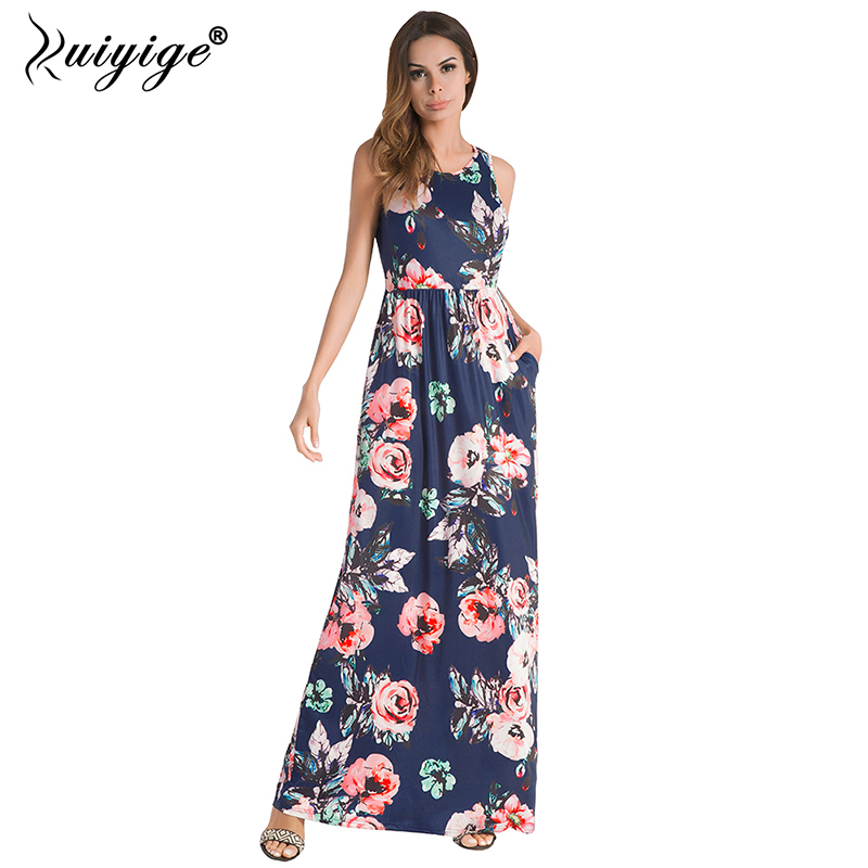 Ruiyige Women Summer Floral Print Boho Maxi Dress Casual Sleeveless Vintage Party Tunic 2018 Pockets Vestidos Long Bench Robes