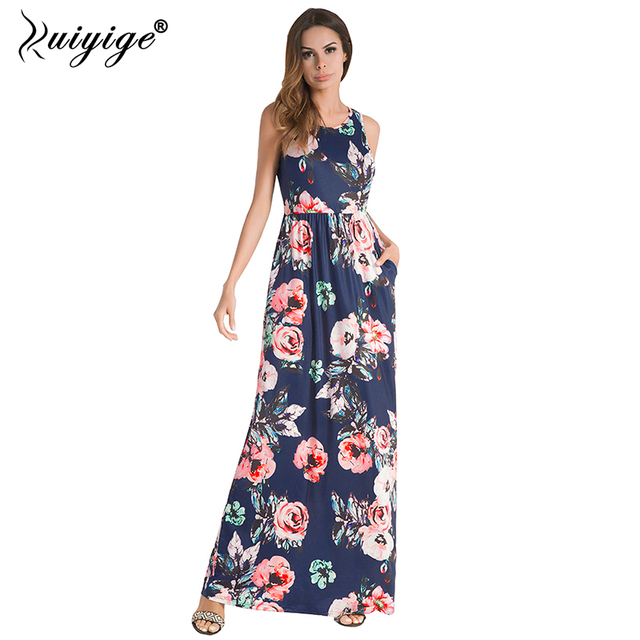 02524896d1ff1 Ruiyige Women Summer Floral Print Boho Maxi Dress Casual Sleeveless Vintage  Party Tunic 2018 Pockets Vestidos
