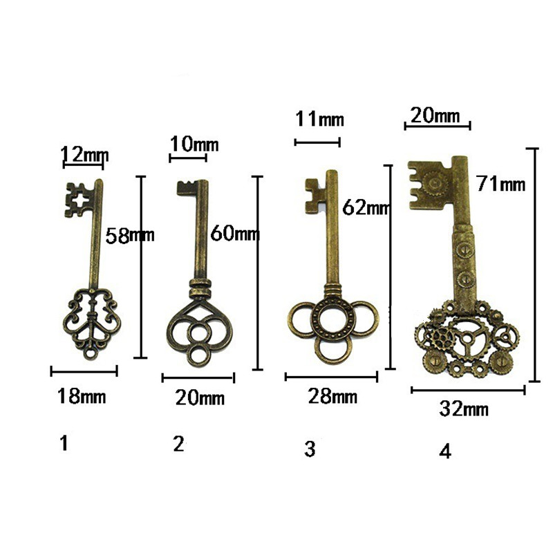 Vintage Alloy Door Bolts,High Quality Antique Chinese Style Key Hardware Accessories,Wooden Door Key Lock,10Pcs