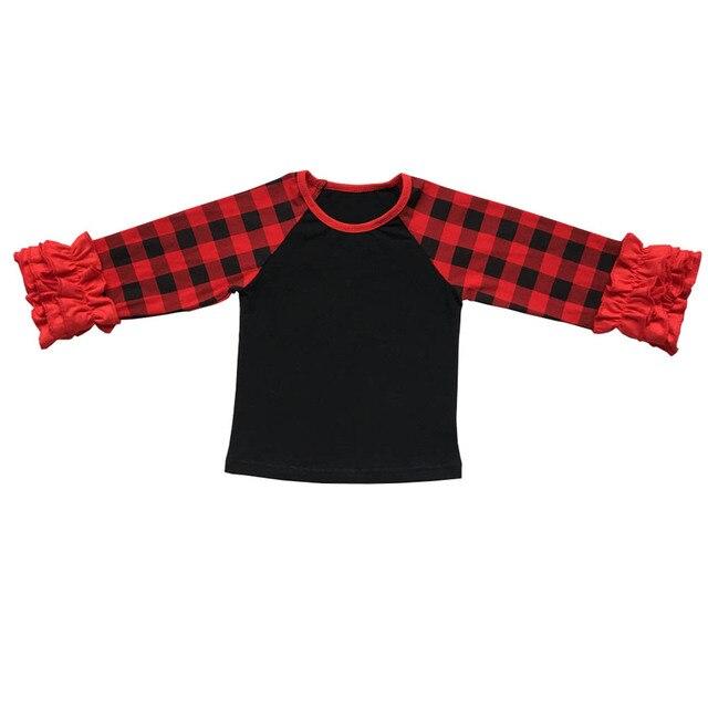 4afc61f04 Buffalo Plaid Baby Girls Icing Ruffle Monogram Sleeve Raglan Shirt ...